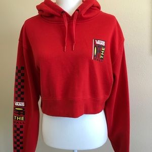 Vans Off The Wall Red Cropped Hoodie